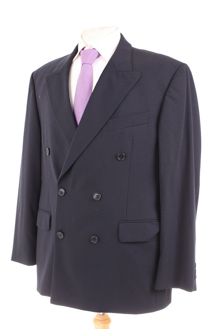 M&S TRAVEL PLAIN NAVY DOUBLE BREASTED MEN'S SUIT 40S DRY-CLEANED