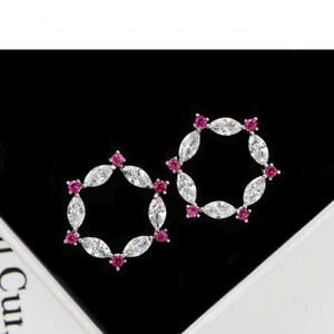 Ear-Studs-Earrings-Star-with-Zirconia-White-and-Red-Sterling-Silver-925