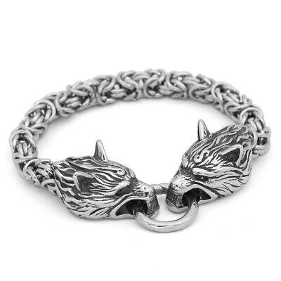 Men Norse Viking Stainless Steel Link Chain Wolf Bracelet Head Amulet Jewelry