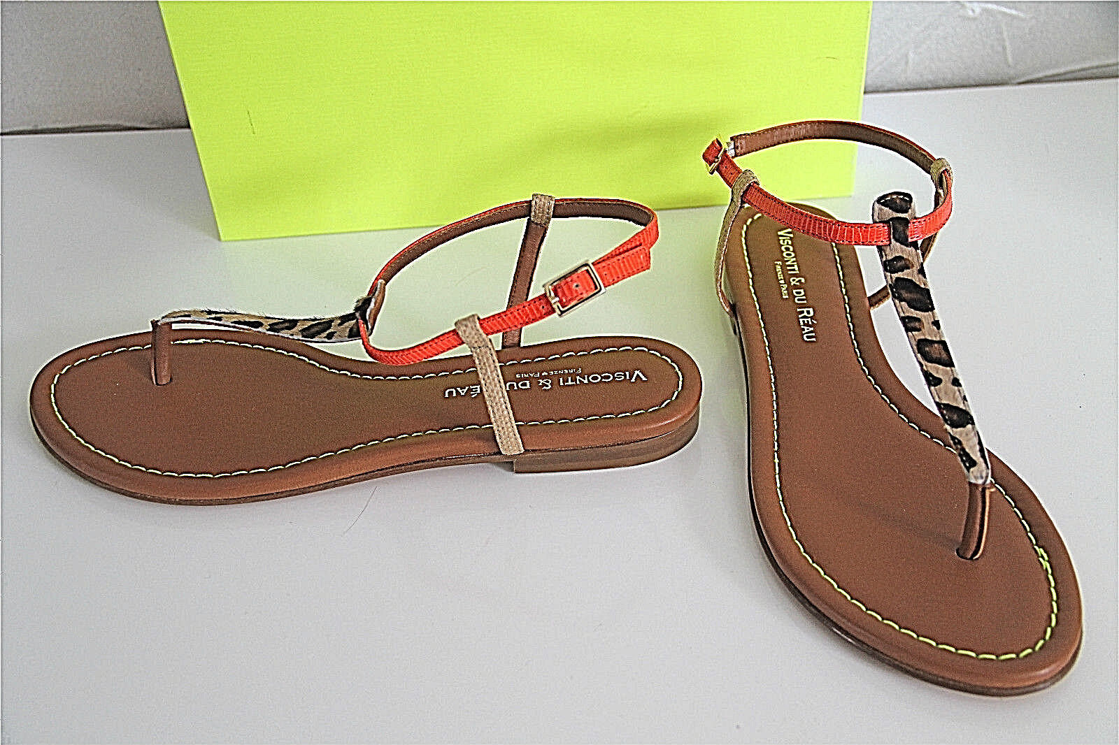 Sandales sandals léopard VISCONTI DU RÉAU size 40 eu 9 us 7 uk NEUVES val.