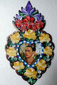Mexican-Folk-Art-Hand-Painted-Tin-Frame-Frida-Kahlo-Heart-Wall-Display-14-034