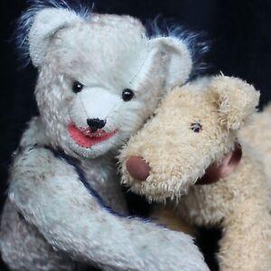 Lachender Blauer Artist Teddy Bär  mit Hund zwei Freunde  🧸  Blue Teddy Bear