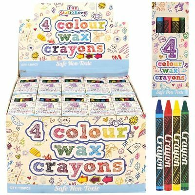 1-1000 Pack 4 Mini Colouring Wax Crayons Kids Lucky Dip Party Bag Toys Fillers