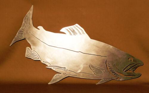 Salmon Plasma Cut Metal Wall Art Hanging Home Decor Fishing Man Cave