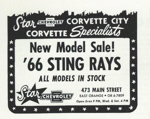 NJ 1966 Chevy Corvette Sting Ray Ad//Rare Star Corvette City Dealer//East Orange