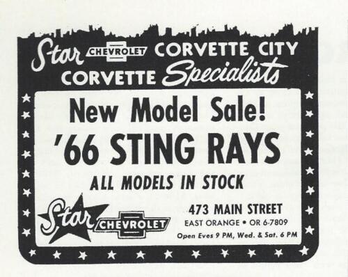 NJ 1966 Chevy Corvette Sting Ray Ad//Rare Star Corvette City Dealer//East Orange