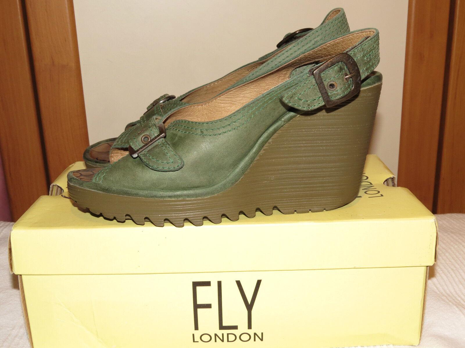 FLY London Parol Verde in Pelle Sandali ALL DIETRO ZEPPA E PLATEAU /41 RRP