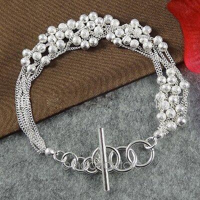 Womens Sterling Silver Bead Multi Layer Bracelet Chain Bangle Women Gift New