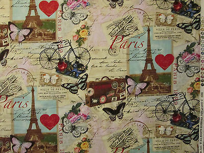 VINTAGE PARIS EIFFEL TOWER BIKE MAP POST MARK COTTON FABRIC FQ 10 by 44