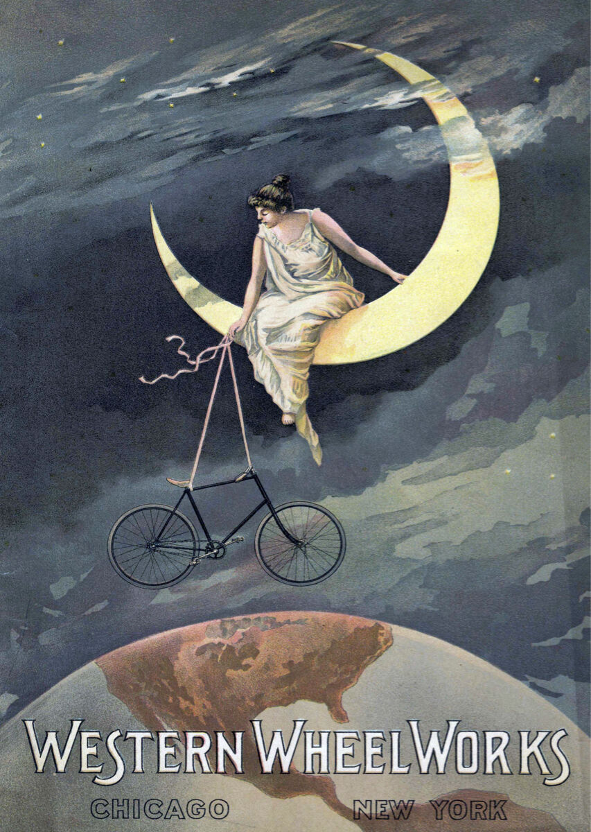 16x20  CANVAS Decor.Room design art print..Western vintage bicycle.Moon.6086