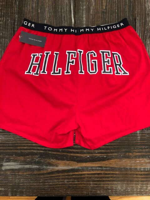 TOMMY HILFIGER MEN  FLY BOXER L 100/% COTTON RED