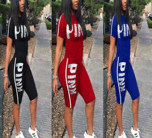 NUOVO 2Pcs Set Tuta Donna Estate T Shirt top&cut fuori Pantaloncini Pantaloni Casual Suit