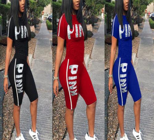 New 2Pcs Women Tracksuit Set Summer T Shirt Top/&Cut Out Shorts Pants Casual Suit