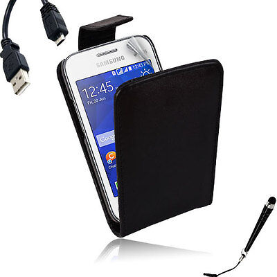 Black Leather Flip Case for Samsung Galaxy Young 2 SM-G130H +SP & Stylus & Cable