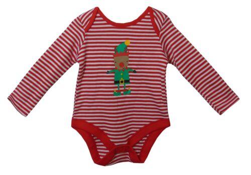 Nouveau f/&f Bébé Garçons Rouge Blanc à Rayures Elf à Manches Longues Noël Body 0-3-6-9-12-18