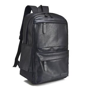 088aa8e376b Details about PU Faux Leather 14 inch Laptop Backpack Daypack Shoulder bag  school bag rucksack