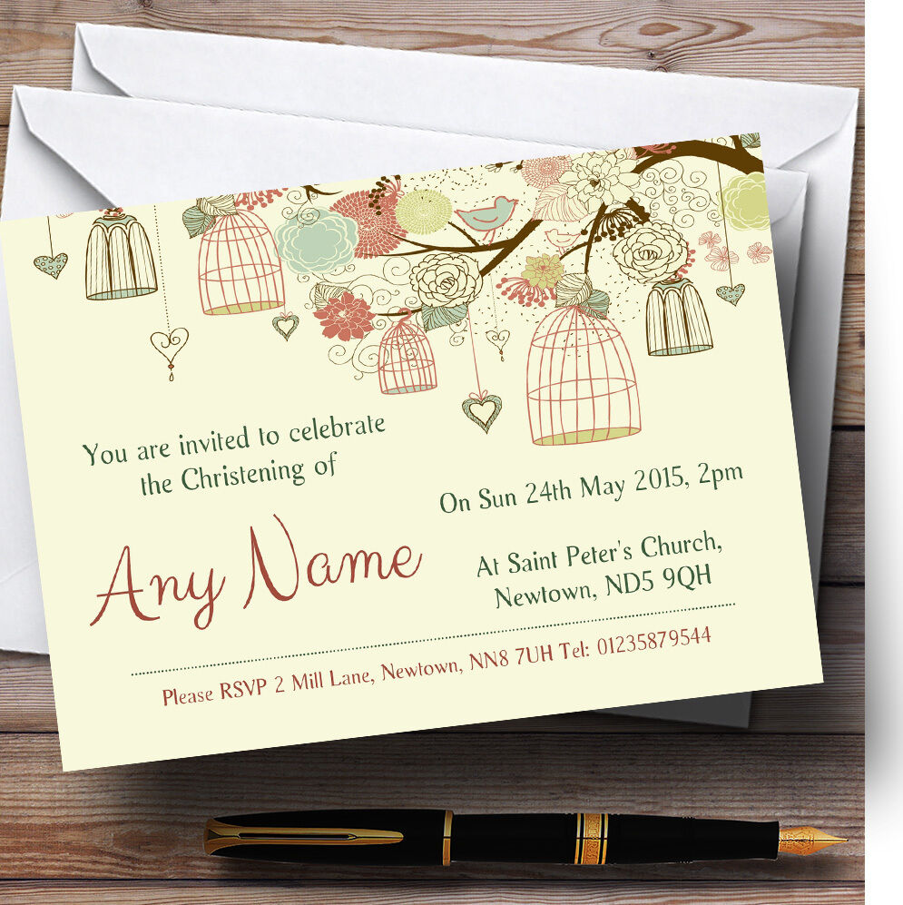 Birdcage Pale Gelb Christening Party Personalised Invitations