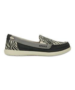 60bbd95a27 New Women's Crocs WALU Canvas Slip-on Loafers Shoes SZ 6 7 Black ...