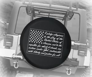 Spare Tire Cover American Pledge of Allegiance Flag Wrangler RV