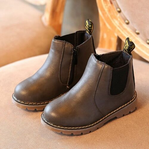 Child Kids Boys Girls Winter Warm Fur Lined Shoes Ankle Boots Chelsea Shoes Size