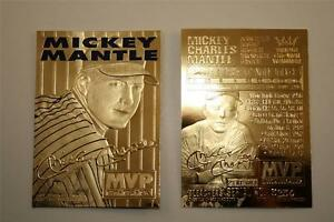 MICKEY-MANTLE-1996-23KT-Gold-Card-Sculptured-3-Time-MVP-Serial-039-d-NM-MT
