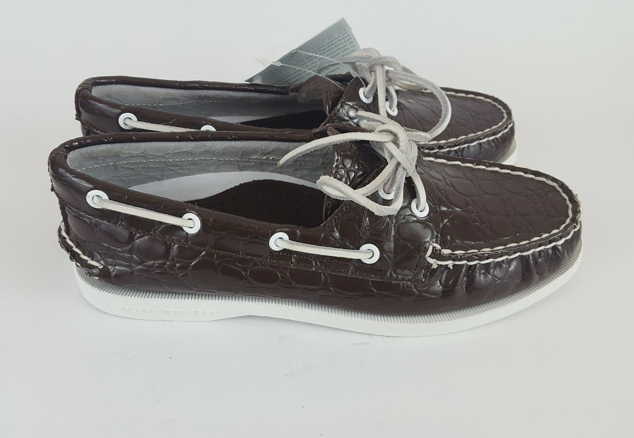 Sperry Top Sider Boat chaussures marron Patent Leather Croc Embossed femmes 7M