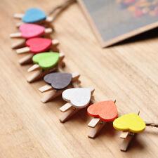 10* Mini bunt Herz Holz Klammer Foto Postkarten Dingelchen Zeigen Halterung HOT