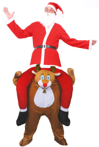 ADULT PICK ME UP REINDEER COSTUME MEN SANTA SUIT CHRISTMAS FUNNY FANCY DRESS LOT