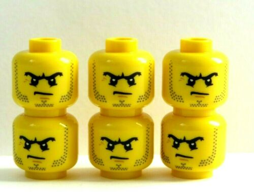 LEGO 6 Heads Head For Boy Man Minifigure  Stubble Beard Angry Soldier Knight