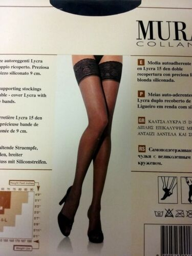 Mura collant Stay-up hosiery sheer 15 den Thigh-Highs floral lace stockings