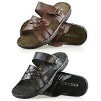 Mens New Leather Sandals Summer Beach Walking Comfort Flip Flop Mules Shoe Size