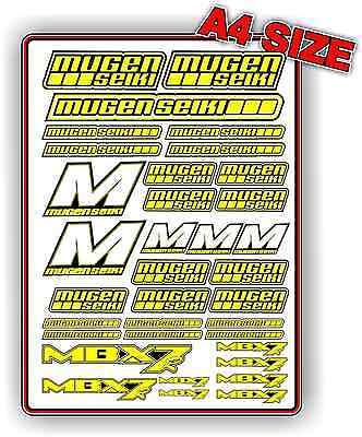 MUGEN MBX7 R 1//8 NITRO RC BUGGY STICKER SET CUSTOM A4 DECAL BLUE BNIP