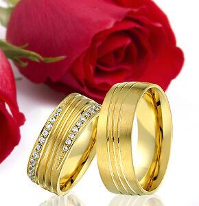 2-SILBER-Partner-Ringe-Trauringe-Eheringe-Gravur-Gratis-GOLD-Plattiert-T364