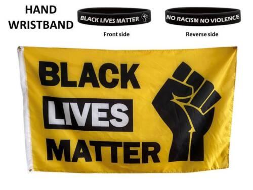 Black Lives Matter Support Black No Silence Racism 5ft x 3ft Flag  /& Wristband