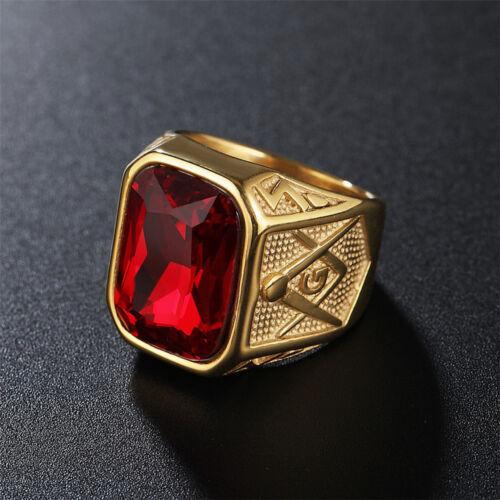 Rétro Hommes 316 L acier inoxydable Ton Or Maçonnique Franc-maçon carré cubique zircone Band Ring