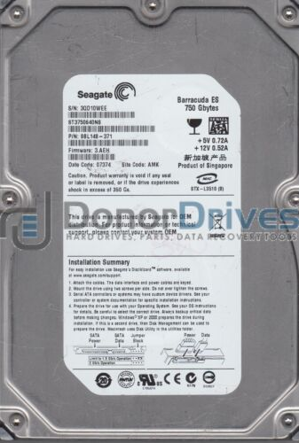 Seagate 750GB SATA 3.5 Hard Driv PN 9BL148-371 ST3750640NS AMK 3QD FW 3.AEH