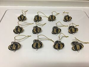 image is loading 12 handmade christmas ornaments made with bling black - Black And Gold Christmas Ornaments