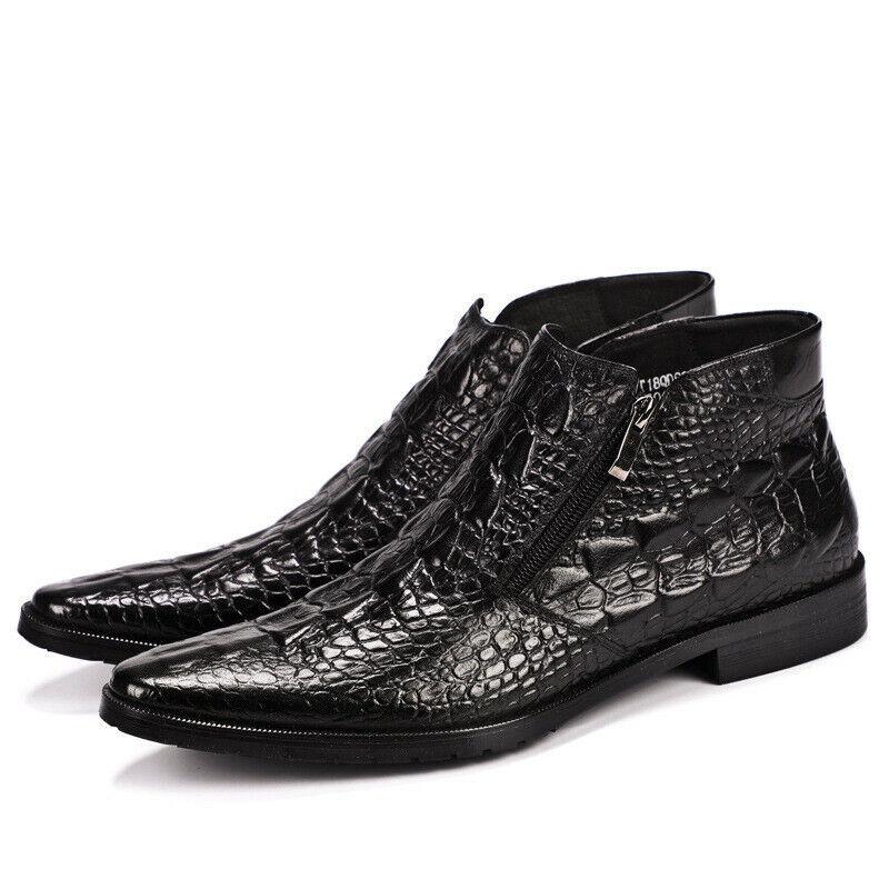 Hombre Cuero Real Con Cremallera Tobillo Alto Puntera Puntiaguda Zapatos de negocios vestido formal sólida