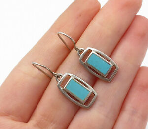 925-Sterling-Silver-Vintage-Turquoise-Inlay-Square-Dangle-Earrings-E8377