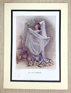 1899 Antico Stampa Ritratto Di Esme Beringer Inglese Vittoriano Attrice Teatro