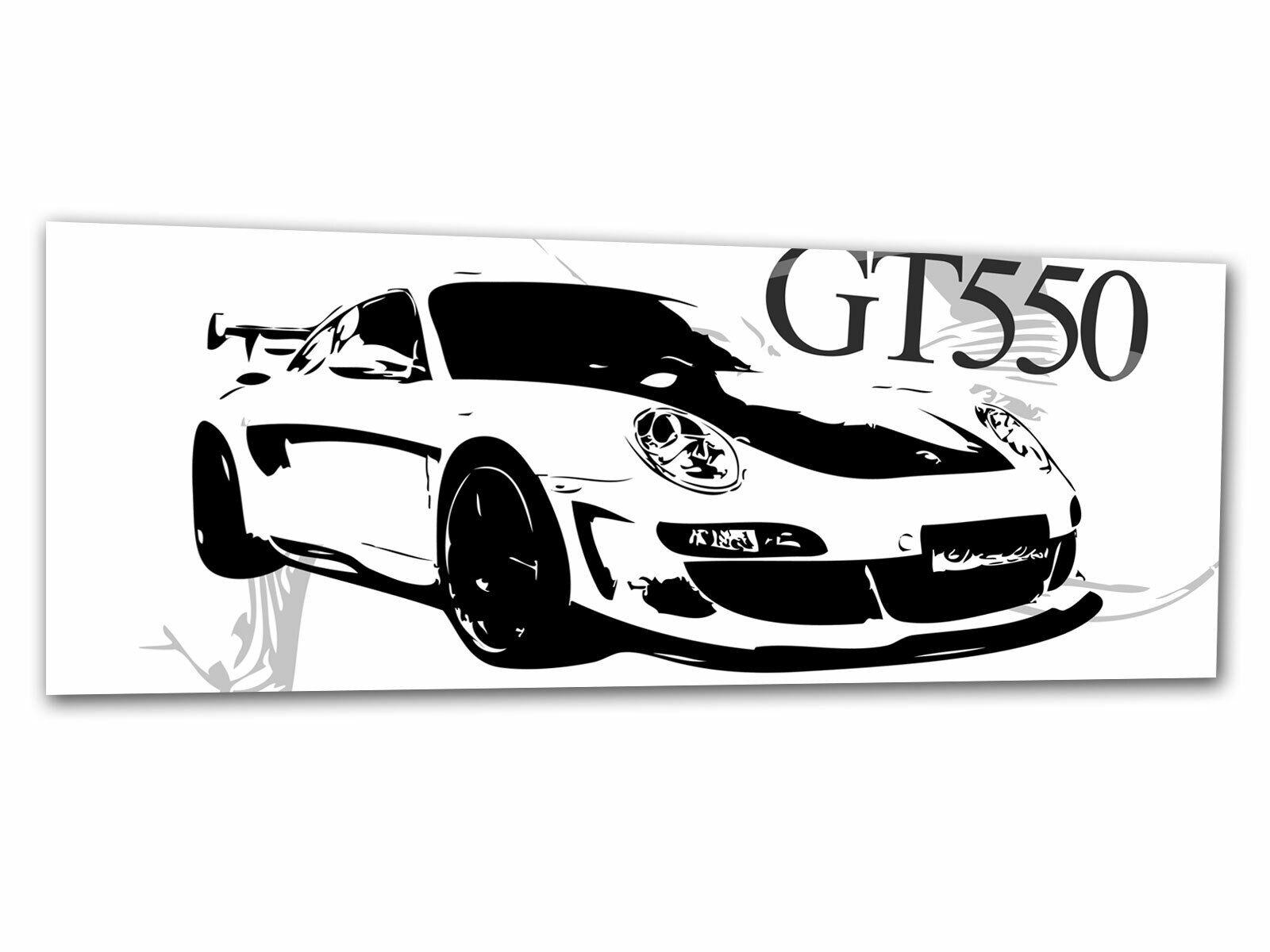 Glas-Bild Wandbild SPORTWAGEN AUTO GRAU AG-00015 125 x 50cm