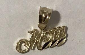 0.71 in x 0.75 in 14K Gold Mom Charm Pendant