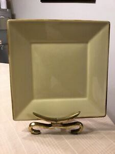 POTTERY-BARN-CHINA-ASIAN-SQUARE-YELLOW-DINNER-PLATE