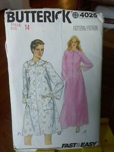 Vtg-Butterick-easy-4025-misses-retro-robe-dressing-gown-quilted-fabric-sz-14-NEW