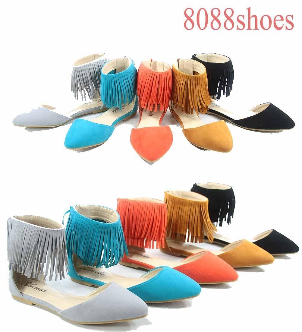 Women's Toe Sexy Fringe Zipper Pointy Toe Women's Flat Sandals Shoes Size 5.5- 11 New 8ef082