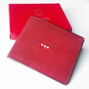 Genuine Real 1 Eye Stingray Skin Leather Man Bifold Shiny Red Wallet New