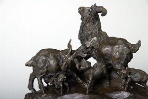 Chevres-et-chevreaux-Tres-belle-sculpture-animaliere-bronze-veritable