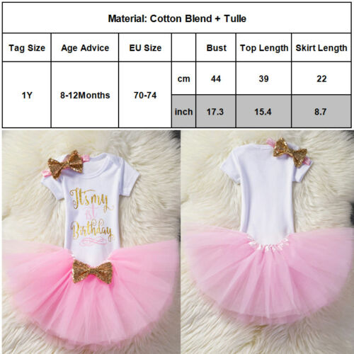 Girls Baby 1st Birthday Party Princess Dress Sequins Bow Tutu Skirt Outfits 3PCS