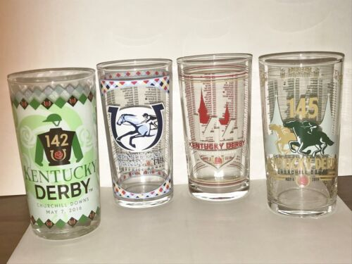 2018 MINT!! 2017 + 2019   All are NEW FOUR Kentucky Derby Glasses --/> 2016