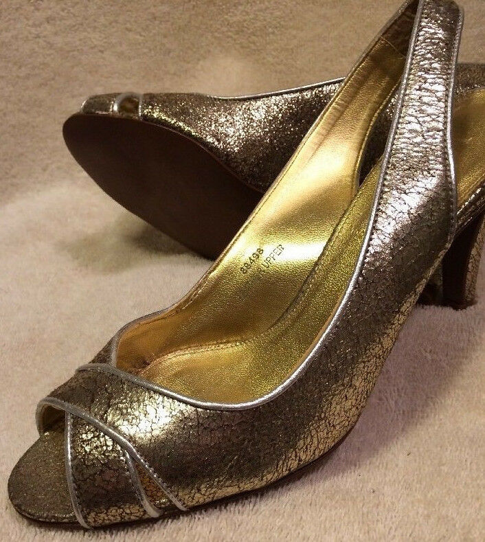 J. Crew New Women's 6 shoes gold Crackled Leather Open Toe Heels